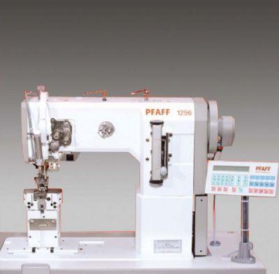 PFAFF 1296-63/15 Çift iğne, sütunlu deri ve döşeme makinesi (Ekstra uzun dikişli 11 mm?ye kadar)